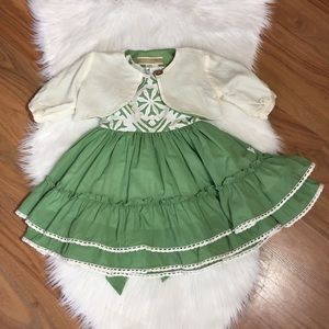 Well Dressed Wolf green and white tiered dress, 3T